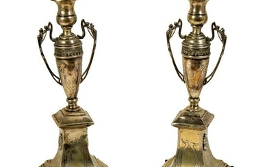 Judaica Continental Solid Silver Candlesticks PAIR