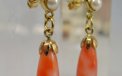 CORAL EARRINGS ANTIQUE YELLOW GOLD 14 CARAT.