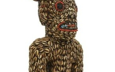 LARGE AFRICAN WOOD, COWRIE SHELL & BEADED FIGURE