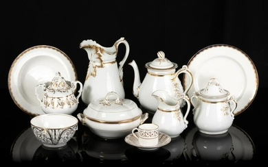 LOT OF WHITE AND GOLD PORCELAIN TABLEWARE
