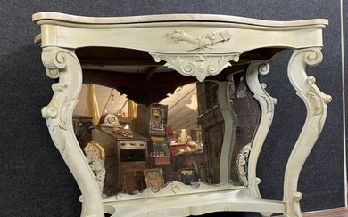 Lacquered wooden console in the shape of a curved shape - Louis XV Style - Wood - Late 19th century