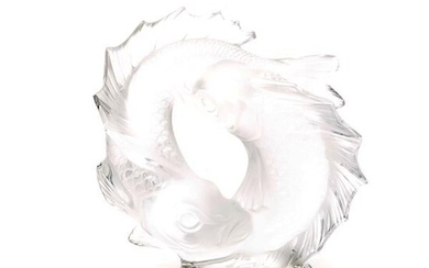 Lalique Frosted and Clear Glass Figural Group: Les Deux