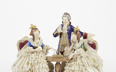 Large Dresden Porcelain Lace Figural Group of Women Playing Chess