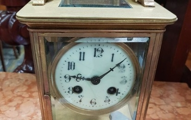 Late 19th/ Early 20th Century Brass Mantle Clock, fully glazed (one panel damaged), with white enamel dial