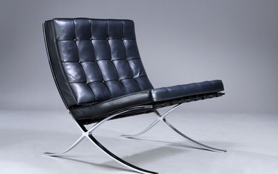 Ludwig Mies van der Rohe. 'Barcelona chair', lounge chair, black leather