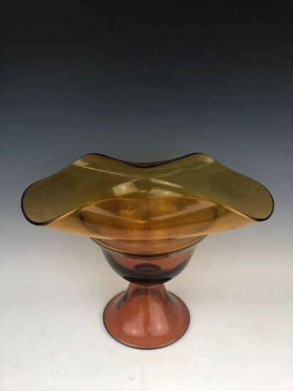 Mid Century Modern Amber Fluted Console Bowl