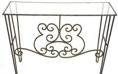 Mid Century Modern Glass Top Wrought Iron Console