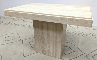 Mid Century Modern Travertine Side Occasional Table.