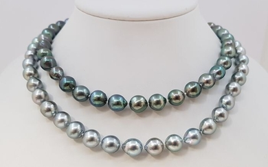 NO RESERVE PRICE - 8x11mm Shimmering Silvery Tahitian Pearls - Long Necklace