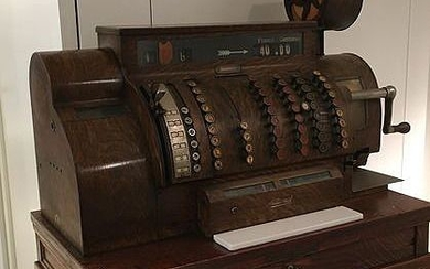 National- Cash register in wood and metal with wood print. - Wood