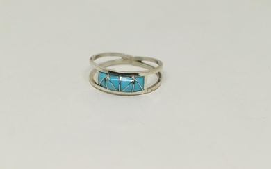 Native American Navajo Inlay Turquoise Ring