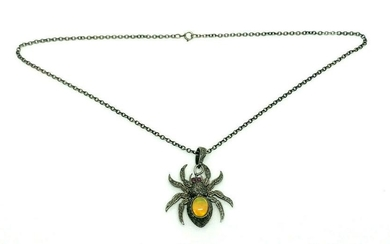 Opal Ruby Diamond Spider Pendant Silver Chain Necklace