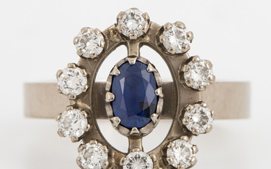 Oval faceted sapphire and brilliant-cut diamond ring