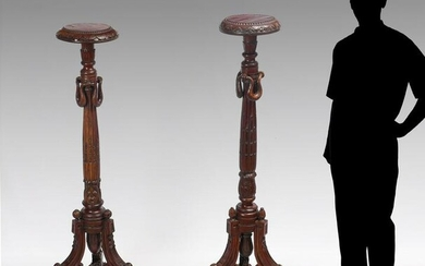 PAIR OF CARVED WOODEN FERN STANDS