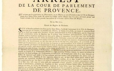 """PROVENCE. 1752. MARTIGUES (13). """"Order of the Court of Parliament of PROVENCE, which orders that the Owners of the empty Places, or of the Houses in ruin & uninhabited in the Town of Martigues, will make close the said empty Places & repair or rebuild..."""