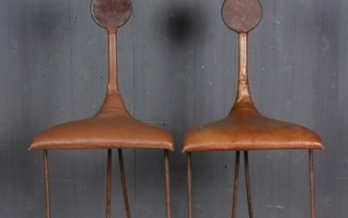 Pair Architect Studio Steel and Leather Stools