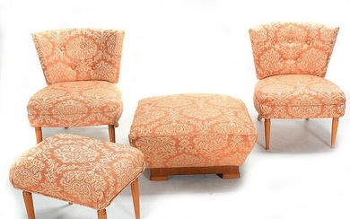 Pair of Art Moderne Upholstered Side Chairs, Matching