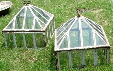 Pair of British Victorian Glass and Iron Garden Lantern Cloches c1880. FR3SH