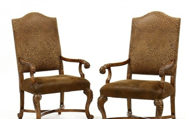 Pair of Contemporary Spanish Style Carved Hall Chairs