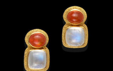 Pair of Fire Opal, Moonstone and High-Karat Gold Earrings