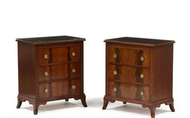Pair of Mahogany Chinese Chippendale Style Bedside