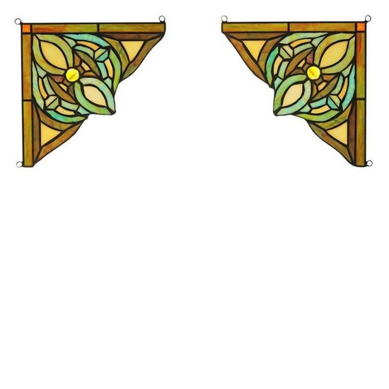 Pair of Victorian-style Stained Glass Window Panels