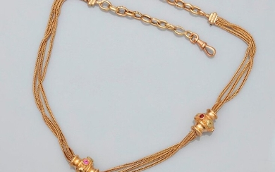"Pretty ""vest"" chain in yellow gold, 750 MM, braided, adorned with these two slides punctuated with small pink garnets, snap hook closure system, length 40 cm, 19th c., weight: 13gr. gross."