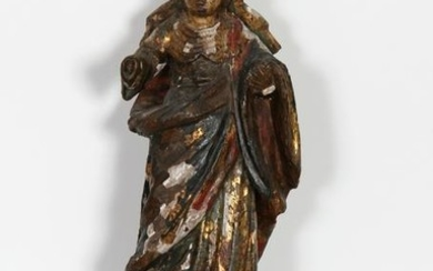 Religious Figure I, Hand-Carved and Painted Wood