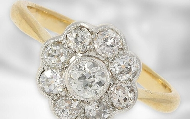 Ring: antique diamond flower ring, approx. 1ct old-cut diamonds