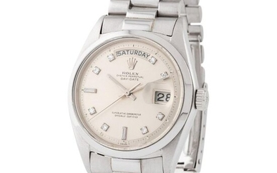 Rolex. Special and Refined Day date Wristwatch in Platinum, Reference 1802, With Diamond Set Silver Dial