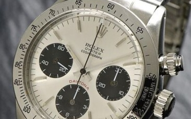 """Rolex, Swiss, """"Oyster Cosmograph Daytona"""", Case No. 4017975, Ref. 6265, Cal. 727, 37 mm, circa 1975 A highly attractive Rolex """"cult"""" timekeeper """"COSMOGRAPH DAYTONA"""" Case: steel, screw back ref. 6265, screwed Rolex winding crown, screwed chronograph..."""