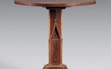 Rosewood pedestal table with tilting top inlaid with a radiating...
