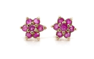 Ruby and 9ct yellow gold cluster earrings approx weight 1 gr...