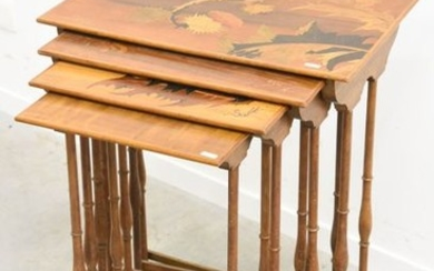 Series of four inlaid nesting tables signed Gallé...