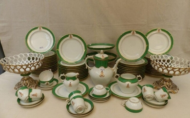 Brussels porcelain dessert service on a white background with green...