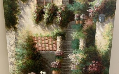 Signed Oil Painting of a Spring Cottage Scene