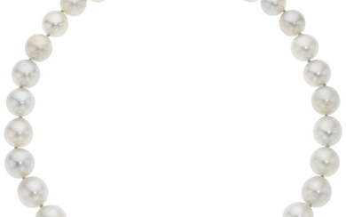 South Sea Cultured Pearl, Diamond, Platinum Necklace The necklace...