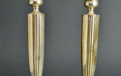 Sterling Silver Engraved Candlesticks, Pair