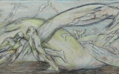 """NOT SOLD. Svend Wiig Hansen: Composition from """"Skabelsen"""". The creation. Oil pastel and gouache on..."""
