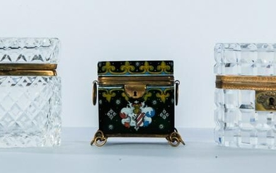 THREE HINGED LIDDED GLASS BOXES.