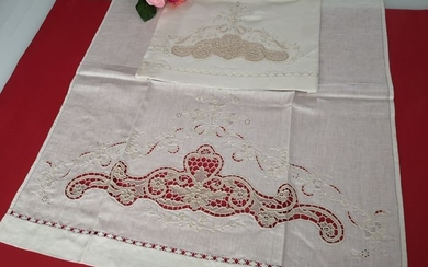 Towels 1 + 1 pure linen Burano of Venice embroidery - Linen - After 2000