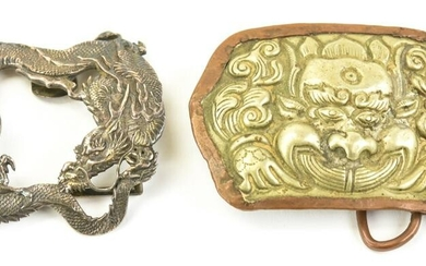 Two Antique Chinese Export Silver Belt Buckles