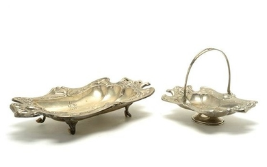 Two Continental Plated Brass Art Nouveau Trays.