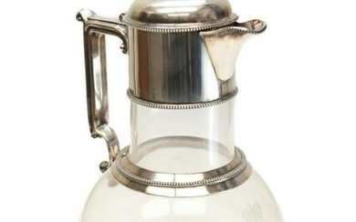 Walter Latham Sterling Silver and Cut Glass Decanter