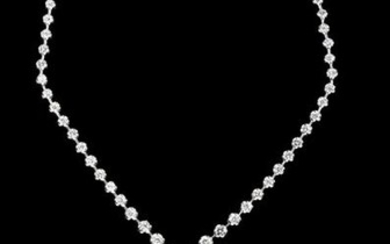 White Gold and Diamond Drop Necklace