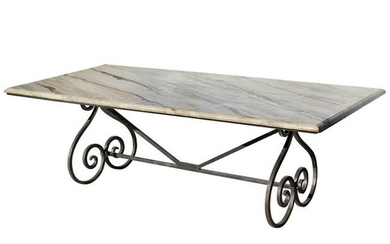 Wrought Iron Dining Table with Faux Painted Marble Top