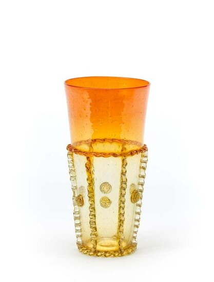 Yellow and orange incalmo blown glass vase with