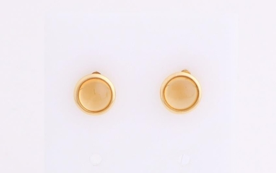 Yellow gold earrings, 750/000, with citrine. Gold