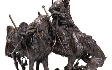 ZAPOROZHIAN COSSACK AFTER BATTLE: A BRONZE FIGURAL GROUP, CAST BY CHOPIN, ST PETERSBURG, AFTER THE MODEL BY EVGENY LANSERE (1848–1886)