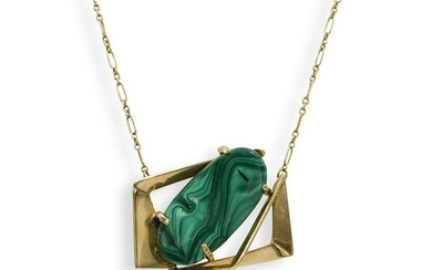 14K Gold and Malachite Necklace
